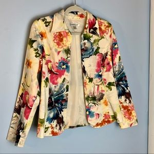 Watercolor floral blazer jacket Coldwater Creek